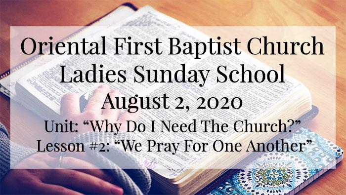 OFBC Ladies Sunday School Lesson for August 2, 2020