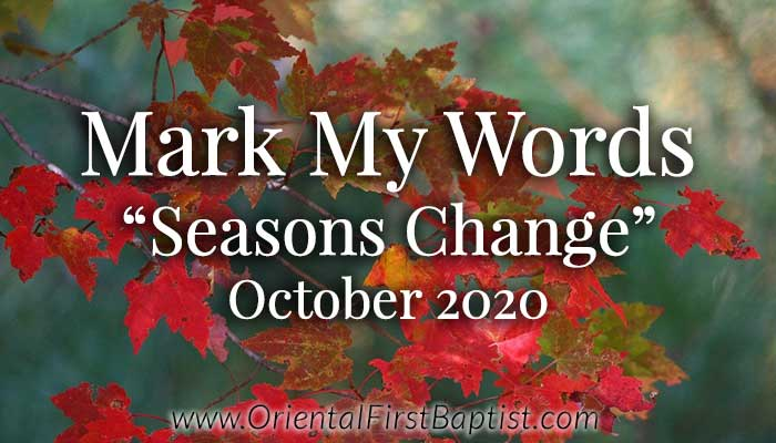 Mark My Words Article - Seasons Change - October 2020