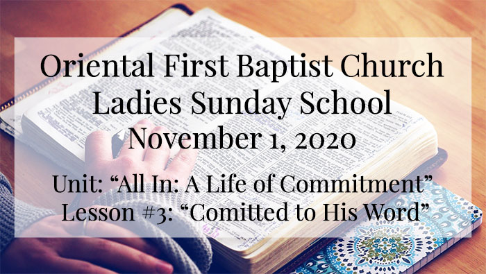 OFBC Ladies Sunday School Lesson for November 1, 2020