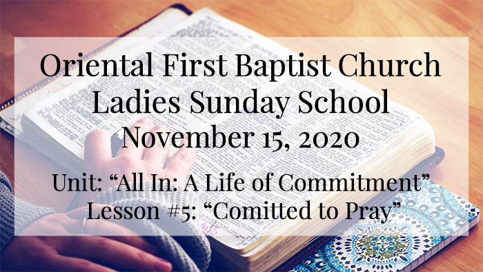 OFBC Ladies Sunday School for November 15 2020