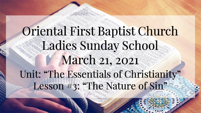 Ladies Sunday School for March 21 2021